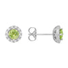 Peridot Diamond Halo Stud Earrings set in 14k White Gold