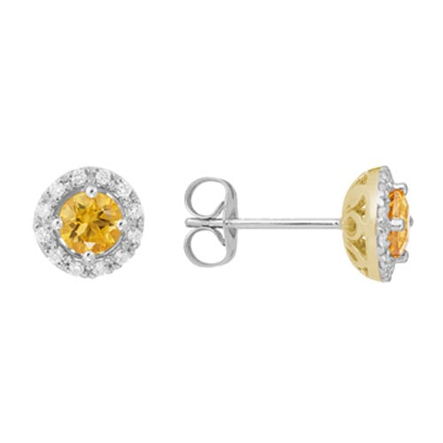14k White Gold Round Cut Citrine Diamond Halo Stud Earrings