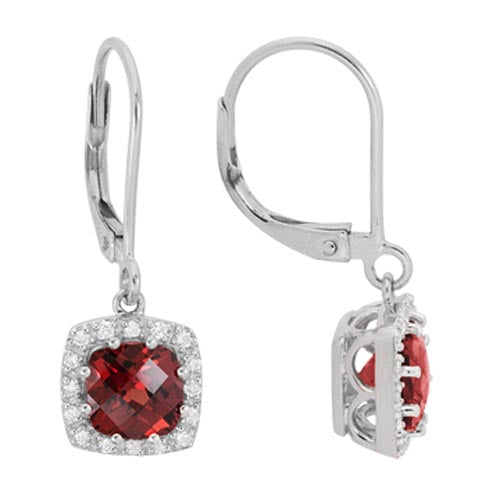14k White Gold Cushion Cut Garnet Diamond Halo Dangle Earrings
