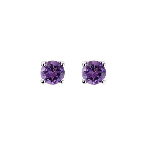 Round Cut Amethyst Stud Earrings set in 14k White Gold