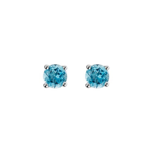 14k White Gold Round Cut Blue Topaz Stud Earrings