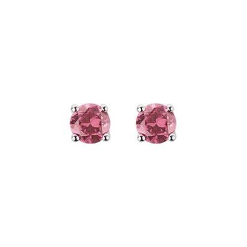 Pink Tourmaline Studs Earrings set in 14k White Gold