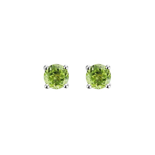 Peridot Stud Earrings set in 14k White Gold