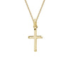 14k Yellow Gold Beveled Edge Cross Pendant Necklace