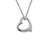 14k White Gold Floating Heart Pendant Necklace