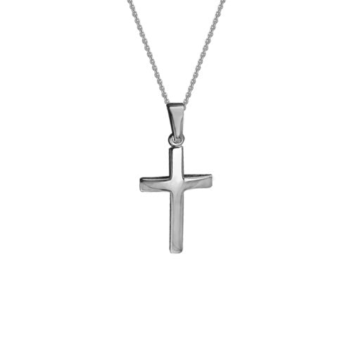 14k White Gold Cross Necklace