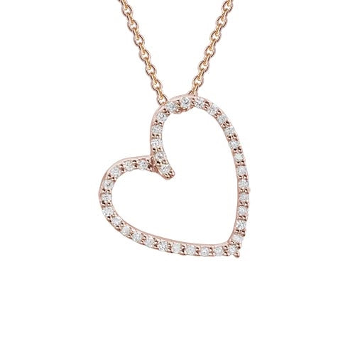 Diamond Heart Pendant Necklace set in 14k Rose Gold