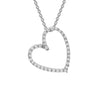 Diamond Heart Pendant Necklace set in 14k White Gold