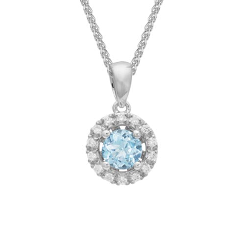 Round Cut Aquamarine Diamond Halo Pendant Necklace set in 14k White Gold