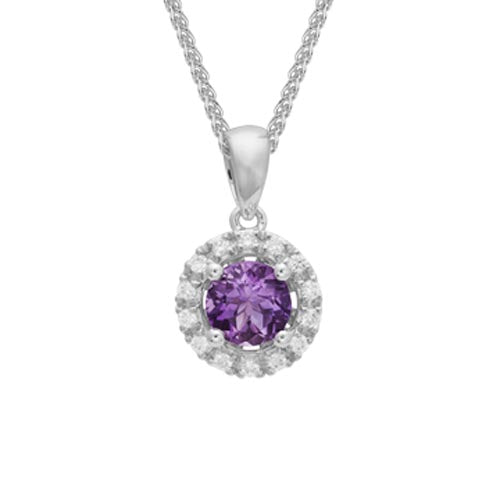 Round Cut Amethyst Diamond Halo Pendant Necklace in 14k White Gold