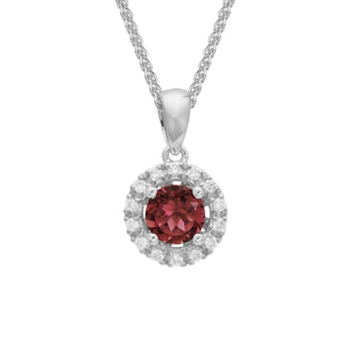Garnet Diamond Halo Pendant Necklace set in 14k White Gold