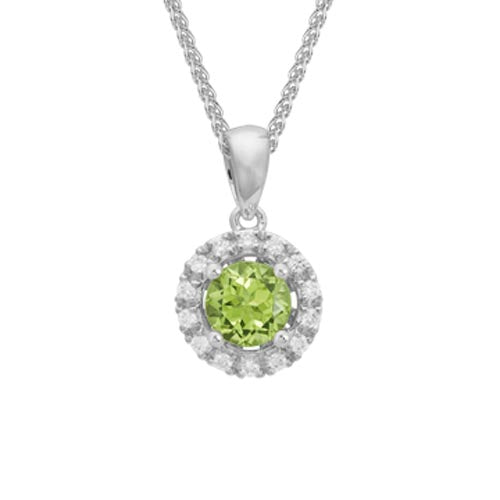 Peridot Diamond Halo Pendant Necklace set in 14k White Gold