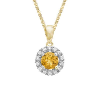 Citrine Diamond Halo Pendant Necklace set in 14k Yellow Gold