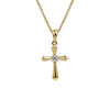 14k Yellow Gold Cross Pendant Necklace with Diamond
