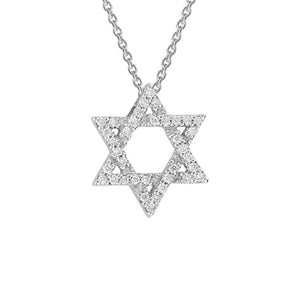"Diamond ""Star of David"" Pendant Necklace set in 14k White Gold"