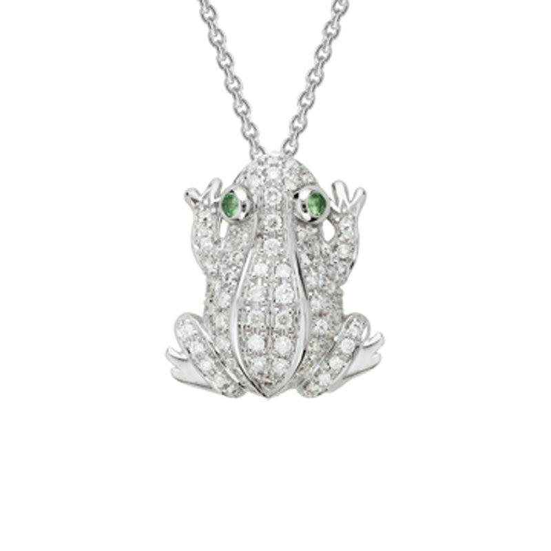Diamond Frog Pendant Necklace in 14k White Gold