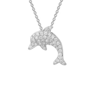 Diamond Dolphin Pendant Necklace set in 14k White Gold
