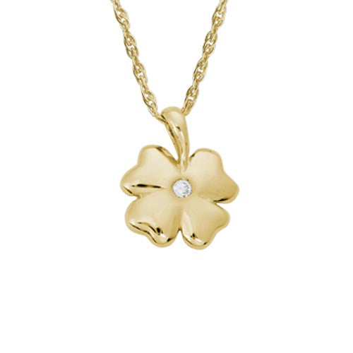 14k Yellow Gold Four-Leaf Clover Pendant with Diamond Necklace