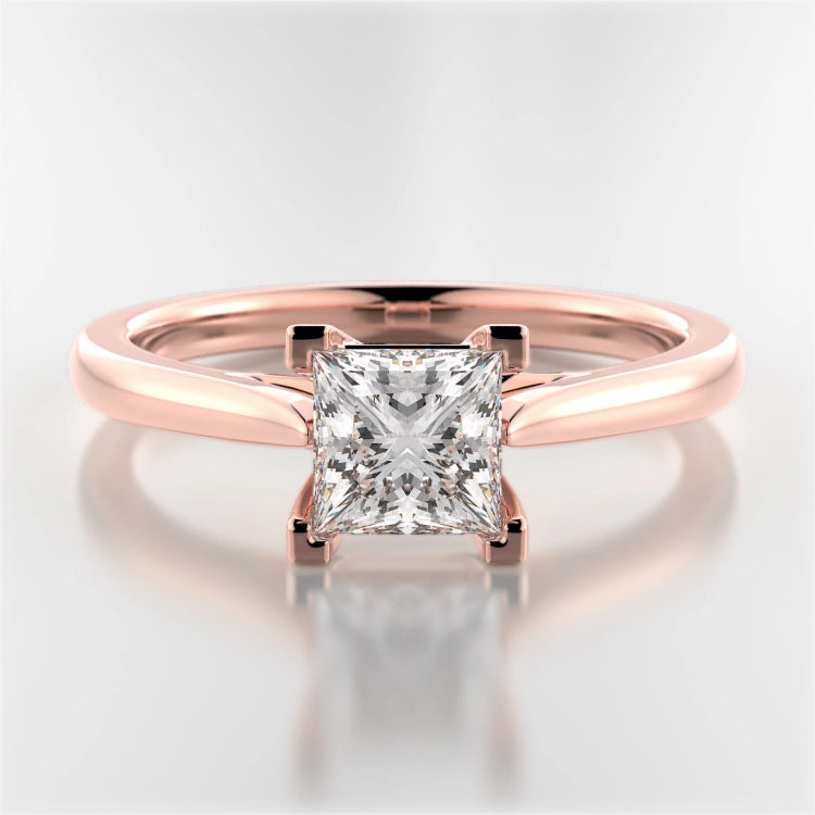 Rose Gold Mackenzie Princess-Cut Diamond Solitaire Ring