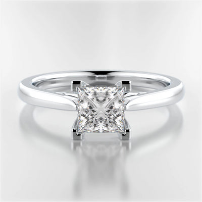 White Gold or Platinum Princess-Cut Diamond Mackenzie Ring