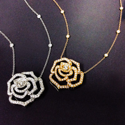 small pendant rose necklaces