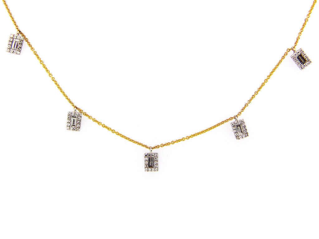 Dilamani Baguette Diamond Dangle Necklace