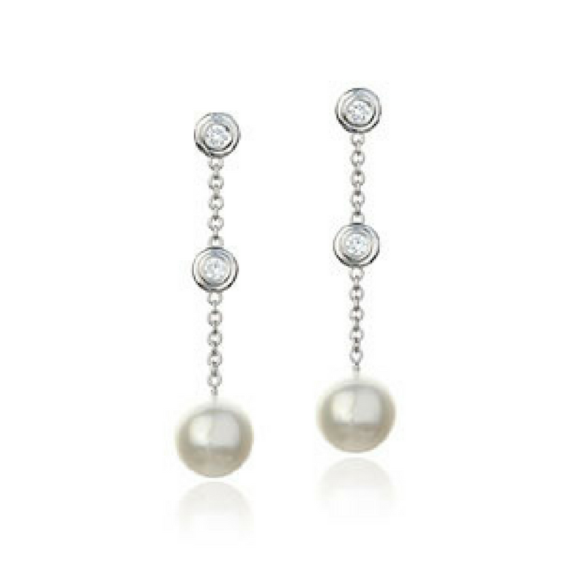 Diamond & Pearl Drop Earrings set in 14k White Gold