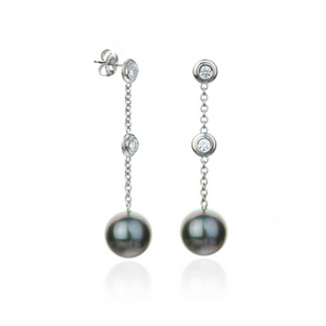 Diamond & Tahitian Pearl Drops Earrings set in 14k White Gold