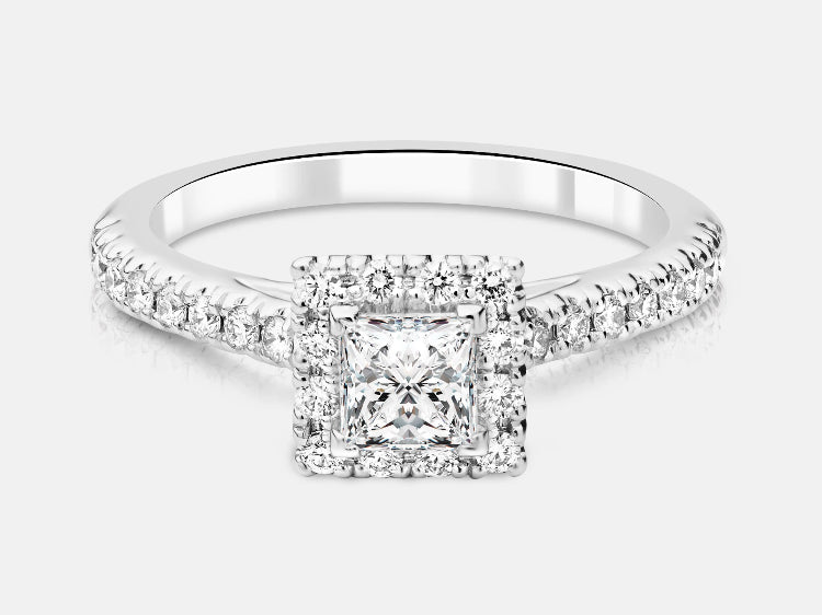 Pippa Diamond Princess Cut Halo Engagement Ring - Naledi