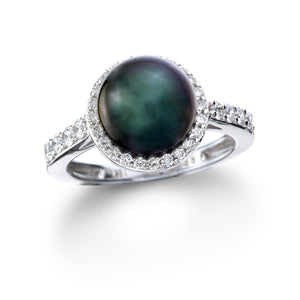 Tahitian Pearl & Diamond Halo Ring set in 18k White Gold