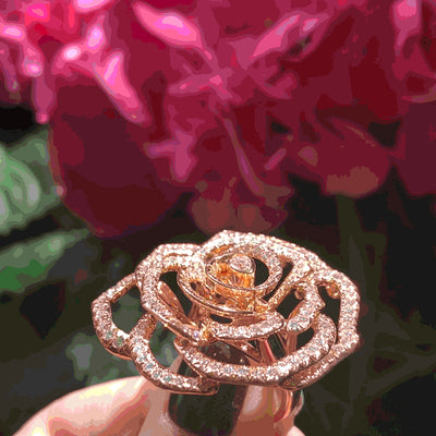 20ct pink gold rose ring