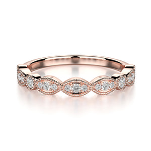 Juniper Wedding Band - Diamonds - Anniversary Band - Rose Gold