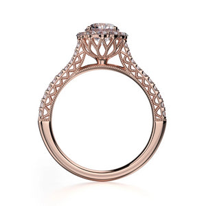 Alcyone Engagement Ring Mounting - Diamond Halo, Round Brilliant, Rose Gold