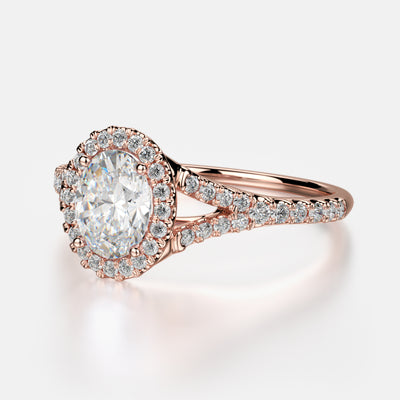 Adrianna Engagement Ring Mounting - Diamond Halo, Split Shank, Oval Center Stone, Pink Gold
