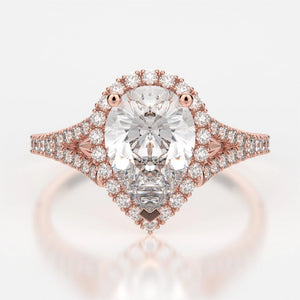 Adrianna Engagement Ring Mounting - Diamond Halo, Split Shank, Pear Cut Center Stone, Rose Gold