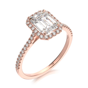Calliope Engagement Ring - Emerald Cut - Solitaire - Diamond Halo - Rose Gold