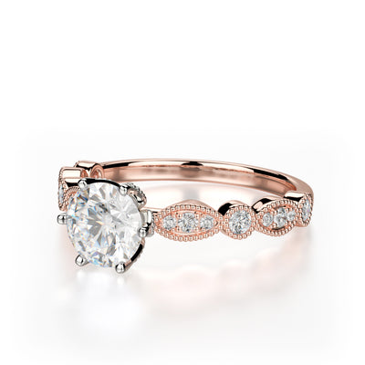 Juniper Engagement Ring Mounting - Rose Gold - Diamond Solitaire