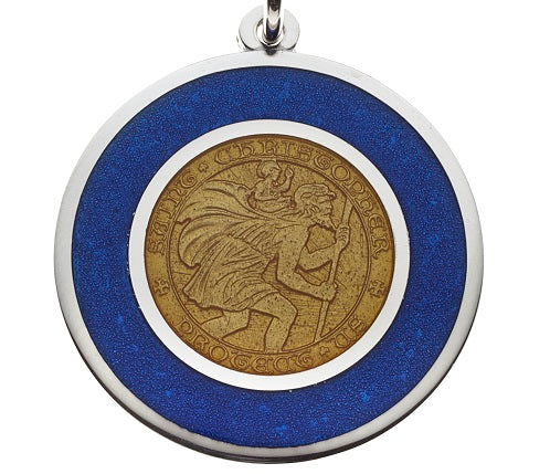 "Blue & Gold ""Brewers"" Sterling Silver St. Christopher Pendant Necklace"