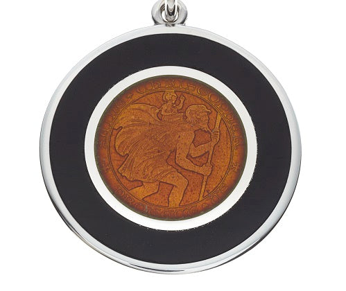 Black & Orange Sterling Silver St. Christopher Pendant Necklace