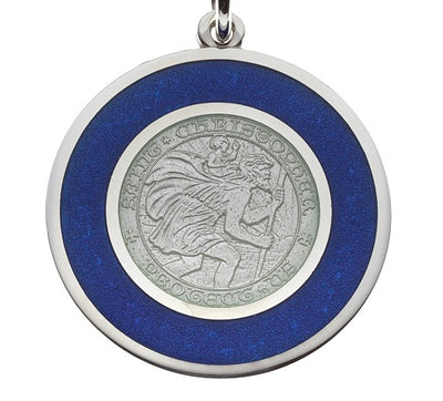 Blue & White Sterling Silver St. Christopher Pendant Necklace