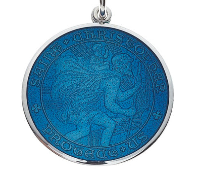 Caribbean Blue Sterling Silver St. Christopher Medal Pendant Necklace