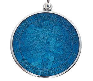 Caribbean Blue Sterling Silver St. Christopher