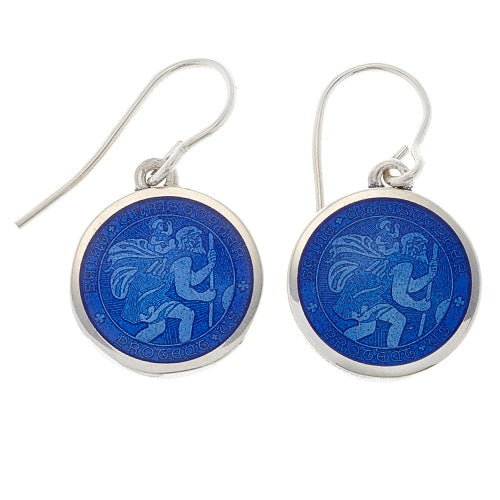 15mm Sterling Silver St. Christopher Dangle Earrings