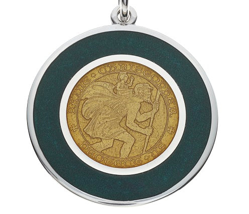 "Green & Gold ""Packers"" Sterling Silver St. Christopher Medal Pendant Necklace"