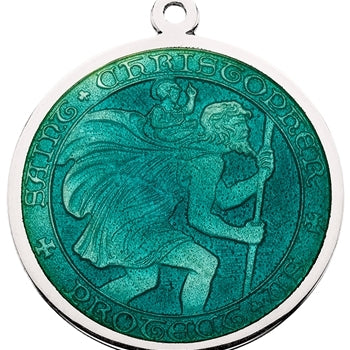 Jade Sterling Silver St. Christopher Medal Pendant Necklace