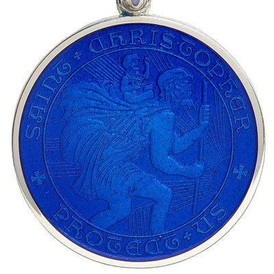 Royal Blue Sterling Silver St. Christopher Medal Pendant Necklace