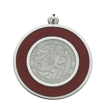 "Red & White ""Badgers"" Sterling Silver St. Christopher Medal Pendant Necklace"