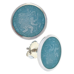 Sterling Silver St. Christopher Stud Earrings