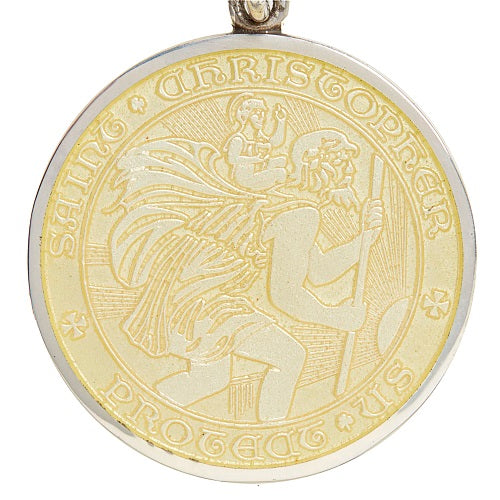 Yellow Sterling Silver St. Christopher Medal Pendant Necklace