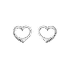 Sterling Silver Open Heart Stud Earrings